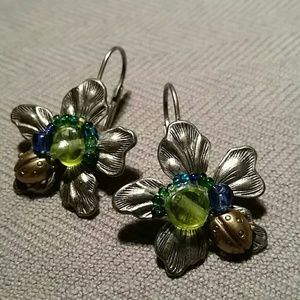 Jewelry - Exquisite Floral Ladybug Earrings Silvertone